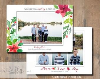 Custom Photo Christmas/Holiday Card | DIY Printable | Watercolor | Greetings | Print Your Own | Photographers | Floral