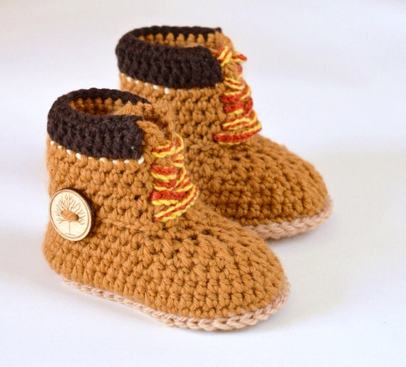 CROCHET PATTERN Baby Booties Timberland style Construction Boot ...