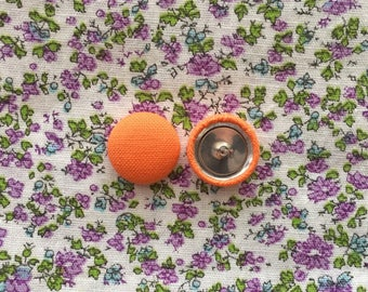 Orange Button Earrings / Handmade Gifts / Wholesale Jewelry / Cute / Solid Colored / Manhattan Hippy / Made in USA / Hypoallergenic Ear