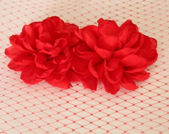 Red Satin Fabric Flower / 3.75 inch wide /  NO PIN / Satin Flower  FLW-09