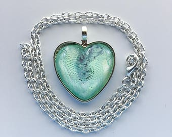 Teal Heart Pendant Necklace, Poured Acrylic, Wearable Art, Heart Pendant, Glass Cabochon, Green Heart, OOAK 126 Silver Heart