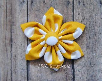 Mustard fabric flower hair clip, hair flower clip, hair bow, mustard polka dot hair bow, Fabric flower hair bow