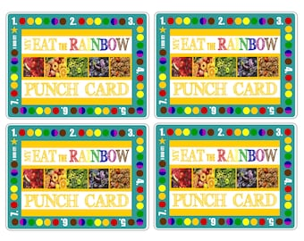Eat the Rainbow Healthy Eating Punch Card for Kids