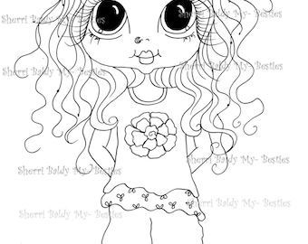 INSTANT DOWNLOAD Digital Digi Stamps Big Eye Big Head Dolls Messy Bessy IMG855 My Besties By Sherri Baldy