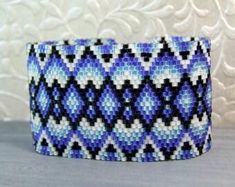 Blue Bracelet Boho Bracelet, Beadwoven Bracelet Sterling Silver, Seed Bead Jewelry, Cuff Bracelet Gift Ideas For Her Unique Jewelry Handmade