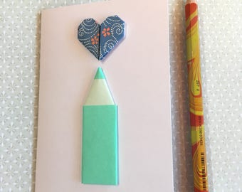 Origami greeting card - pencil and heart (light green and blue)