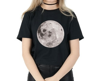 Full Moon T-shirt Top Shirt Tee Fashion Blogger Space Alien Head Grunge