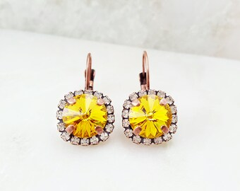 Citrine Earrings - Swarovski Crystal Earrings Yellow - Topaz Earrings - Yellow Dangle Earrings - Sunflower Yellow Earrings - November E3951