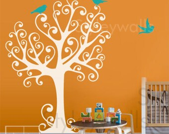 Tree with Birds Wall Decal, Tree with Birds Wall Sticker, Ornamental Tree and Birds for Nursery Kids Room, Nursery Tree Wall Decal