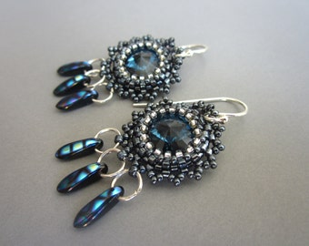 OOAK blue Swarovski rivoli dangle earrings, statement earrings, designer earrings, wearable art