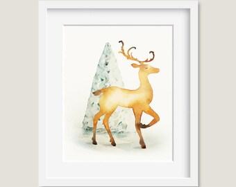 Watercolor Painting - Christmas Reindeer Painting - Watercolor Reindeer - 8 by 10 print - Archival Print, Holiday Decor, Holiday Art