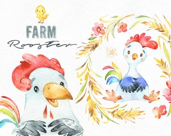 Farm. Rooster. Watercolor country clipart, little chicken, floral wreath, cockerel, planner, stickers, kids, household, frame, nature art