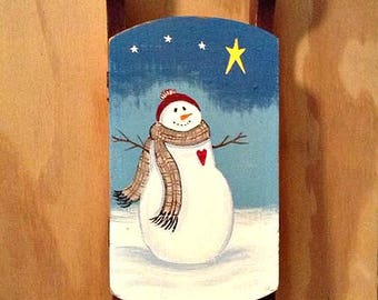 """16"""" Vintage Wood Sled Hand Painted with a Snowman, Snowman Sled, Primitive Snowman, Winter decoration, Christmas decoration,"""