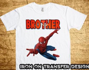 Spiderman BROTHER, Spiderman Iron On Transfer, Printable DIY Shirt Transfer, Digital Files, Instant Download