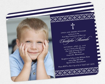 Navy First Communion Invitations, Photo First Communion Invitations, Printable Communion Invitations, Printed Communion Invitations, PDF