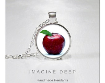 BUY 2 GET 1 FREE Apple Pendant Necklace Red Delicious Apple High Quality Handmade Silver Copper Pendant -  Red Delicious (037)