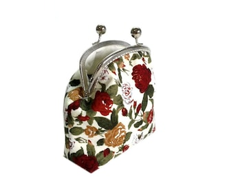 Cosmetic Bag - Kiss Lock Purse with cards slot - Make-up Bag - Silver Frame - Frame Coin Purse - Floral Cotton Purse