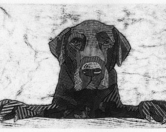 Labrador Retriever Art Collograph Print, Black and White, Black Lab - Dusk 11