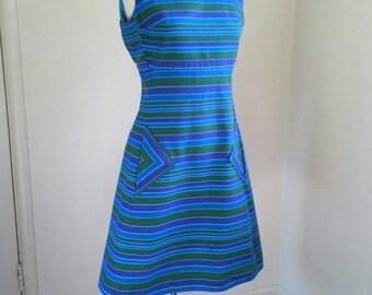 60s striped shift dress, mod cotton dress, sleeveless blue green purple, geometric print, triangle pockets, Berkertex A-line dress, medium