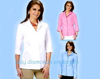 McCalls M6076 Womens Classic Fit the Perfect Shirt Top Blouse w Wing Collar size 16 18 20 22, Palmer & Pletsch Sewing Pattern 6076 Uncut FF