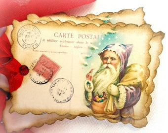 Vintage Christmas Tags, Santa in Purple Robe, French Hang Tags, Holiday Gift Labels, Set of 10