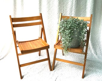 A Set Of 2 Wood Folding Chairs | Mid Century Folding Wood Chairs | Wedding Chairs | Made In Romania Wooden Chairs |