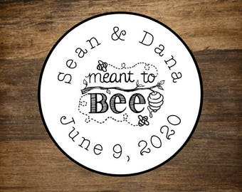 """Wedding stickers, set of 63 personalized favor labels, 1"""" round stickers, Meant to Bee, bridal shower, party favor stickers, honey labels"""