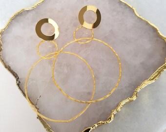 Gold Hoops - Large Earrings, Statement Earrings, Modern Earrings, Circle Earrings, Hoop Earrings, Triple Hoop Earrings, Drop Earrings