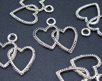 Large Double Heart Tibetan Silver Set of 6 Charms