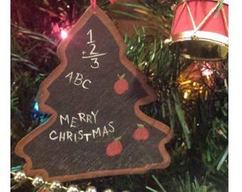 Teachers ornament, teachers gift, chalkboard christmas tree, ornament, teachers pet, hand painted, rustic wooden, school, tole painting, art