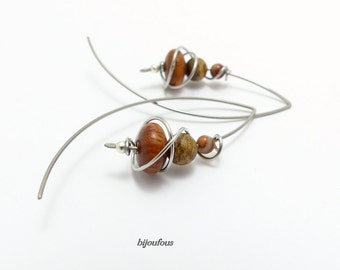 Earrings brown beige large wooden stones (GC 11) surgical steel hooks