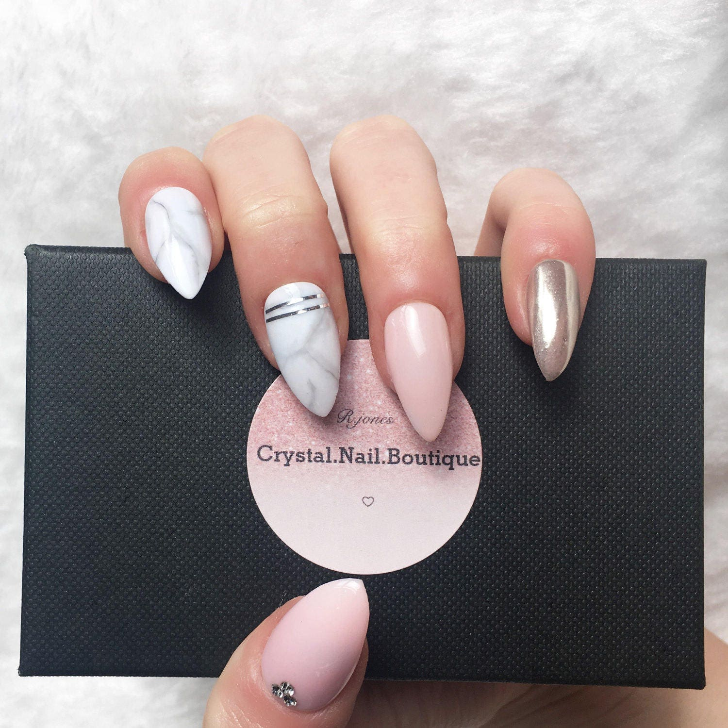 Press on nails Light pink Marble chrome nails false nails