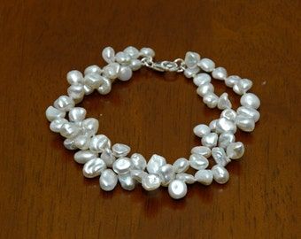 Classic 925 Sterling Silver Twist Strands White Keishi Pearl Bracelet