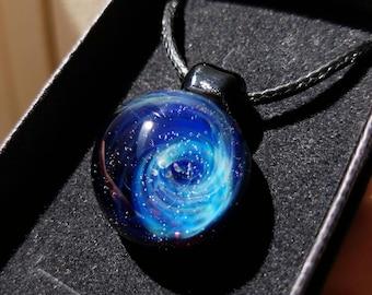 Blown glass, Aurora Borealis, glass Lampwork pendant