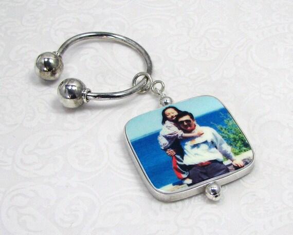 Photo Charm on a Sterling Silver Horseshoe Key Ring - P1Ra