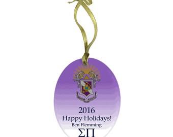 Sigma Pi Holiday Color Crest Glass Ornament