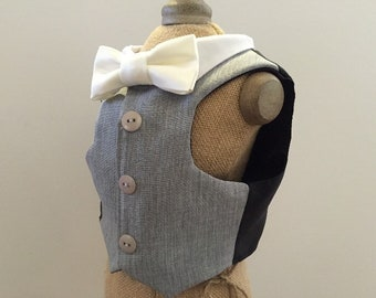 Grey Dog Tuxedo Vest (Custom Color Bow Ties Available)