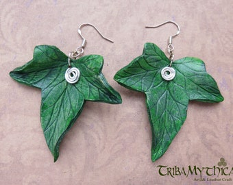 Leather Ivy Leaf Earrings in dark green with silver wire hooks - Faery Nature