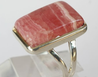 Rhodochrosite Ring Sterling Silver Gift for Her Mineral Lover Colorado Mineral
