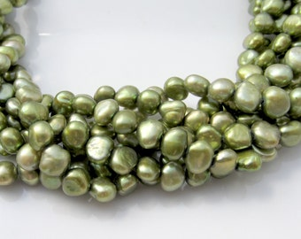 Green Pearls, Freshwater Pearls, Nugget Pearls, Real Pearls, Leaf Green Pearls, Center Drilled Pearls, Genuine Pearls, 6mm-6.5mm Full Strand
