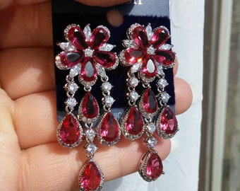 SALE Raspberry Rhodolite Garnet and Zirconia Flower Earrings, Free Shipping.