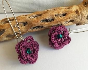 Crochet Flower Earrings - Lace flower earrings - Dangle Flower Earrings - Purple earrings - Purple Flower earrings - Girlfriend gift