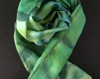 Hand painted silk scarf; shimmery green silk scarf