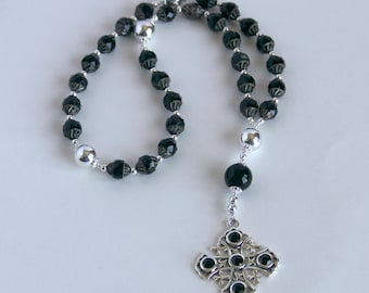 Protestant/Anglican Prayer Beads; Black and Sterling; Jerusalem Cross (APB16)