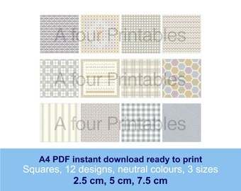 Fabric stitch and weave effect collage squares digital PDF 12 designs in neutral colours and 3 sizes paper crafts cards scrapbooking SS-SW-2