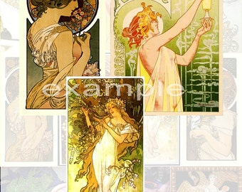 French Art Nouveau Digital Collage Sheet