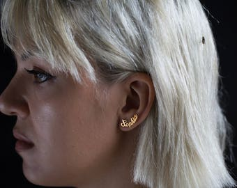 Name Earring - Personalized Earring - Personalized Jewelery - Valentine's gift - Custom Earrings - Name Ear Climber - Gold Earring - Persona