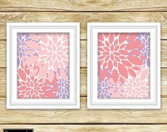 Floral Flower Burst Pink Purple Wall Art Bedroom Livingroom Nursery Flowers Decor Printable 11x14 Digital JPG Instant Download (60)