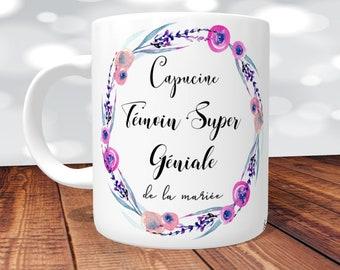 MUG Témoin Super Géniale - Floral Rose- personnalisé Recto/Verso, mug personnalisé,tasse témoin,mug témoin,cadeau témoin, mug témoin mariage