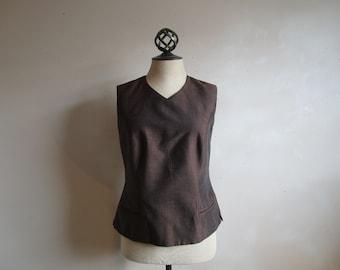 1980s Sunny Choi Fitted Vest Vintage 80s Brown Blue Iridescent Formal Designer Dapper Dress Vest 10US